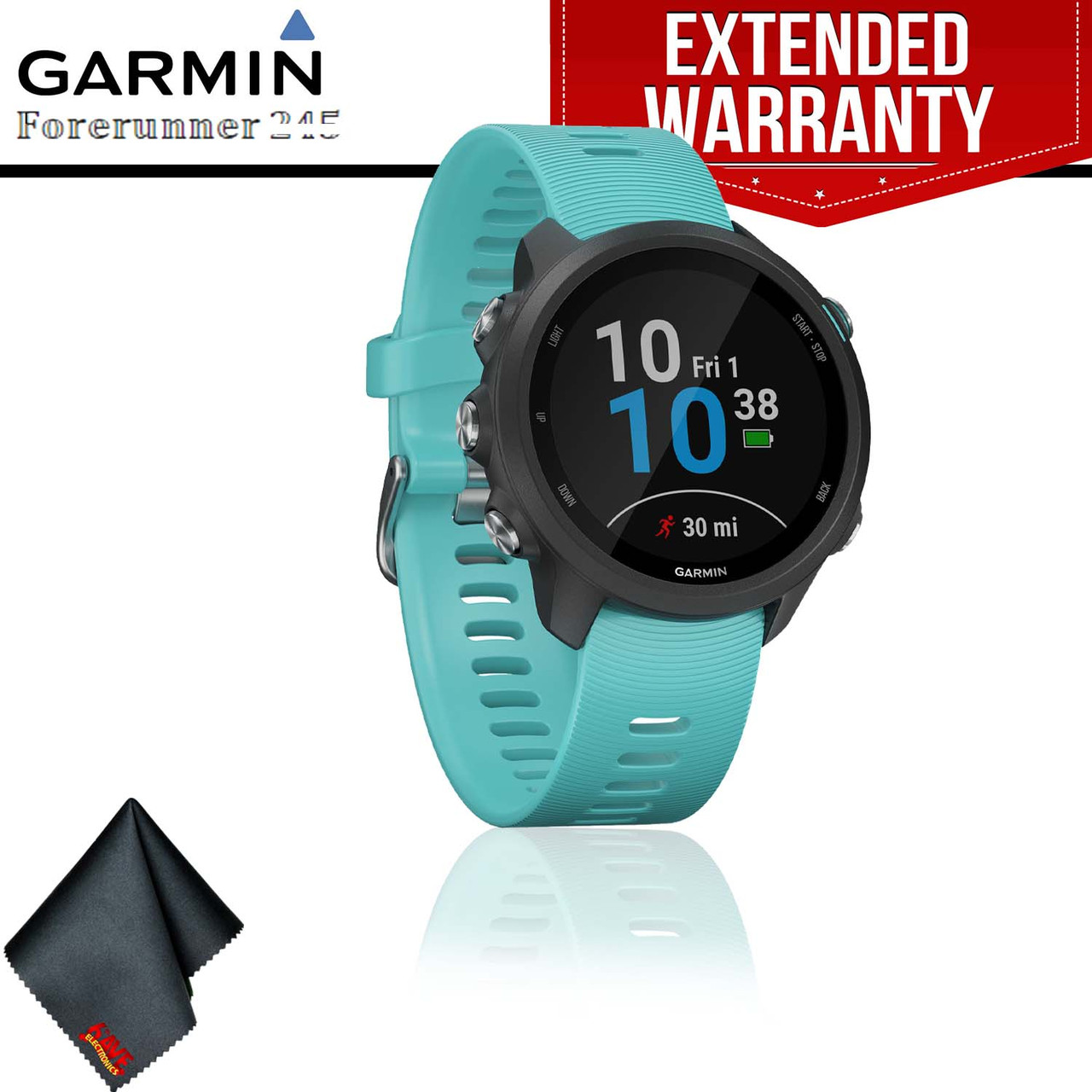 8a1d1d25b Garmin Forerunner 245 Music GPS Running Smartwatch (Aqua) + Extended  Warranty + Cleaning Cloth