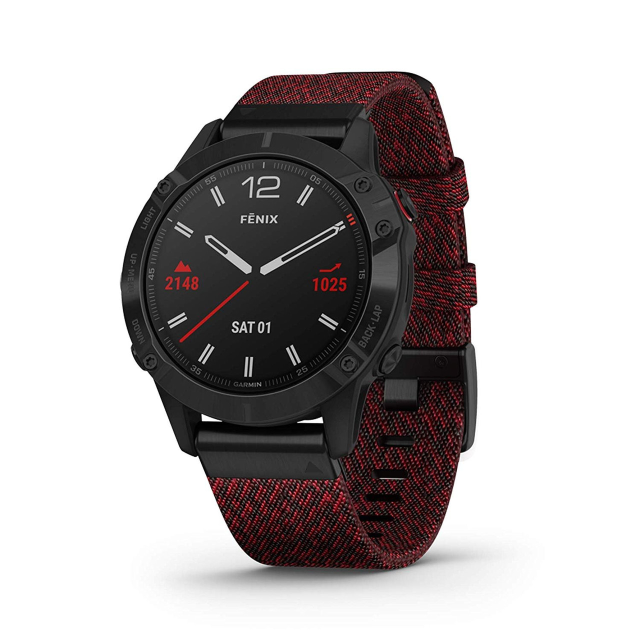Garmin Fenix 6 Sapphire, Premium Multisport GPS Watch, Features Mapping,  Music, Grade-Adjusted Pace Guidance and Pulse Ox Sensors, Black with Red