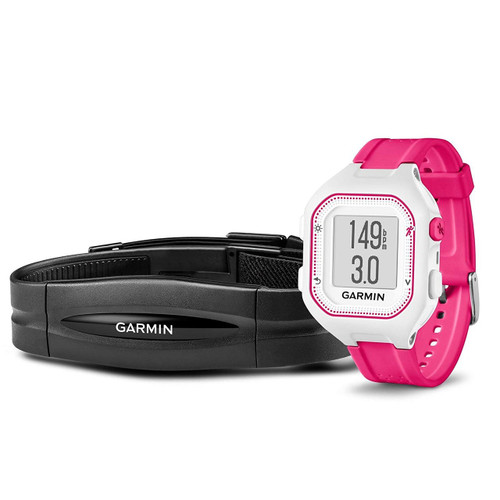 Garmin Forerunner 25 Bundle with Heart Rate Monitor, Small - White and Pink