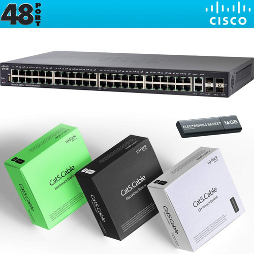 Cisco SF250-48 48-Port 10/100 Smart Switch + Cabling Kit - SF250-48-K9-NA