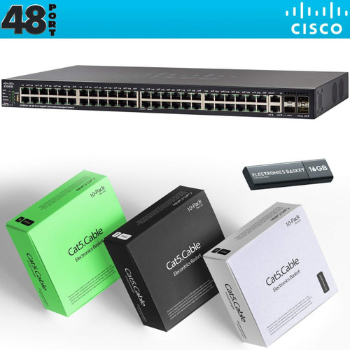 Cisco SG550X-48 48-Port Gigabit Stackable Managed Switch + Cabling Kit - SG550X-48-K9-NA