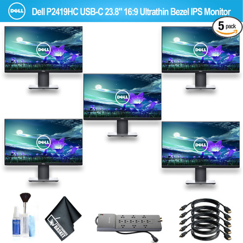 """Dell P2419HC USB-C 23.8"""" 16:9 Ultrathin Bezel IPS Monitor With 1 - Belkin PowerStrip and 5 HDMI Cables - 5 Pack"""