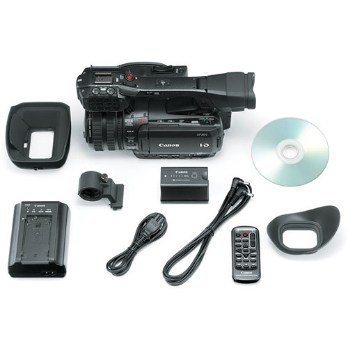 Canon XF200 HD Camcorder  (9593B002) W/ 64GB Memory Card, Bag, Extra Battery and Charger, Tripod, Led Light, Sony Headphones, Mic, and External Monitor