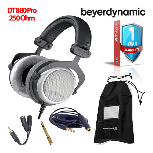 Beyerdynamic DT 880 Pro 250 Ohm Semi-Open Studio Mixing Headphones -Includes- Soft Case, Splitter, and 1-Year Extended Warranty