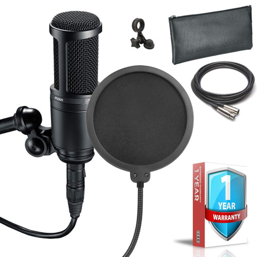 Audio-Technica AT2020 Cardioid Condenser Microphone - Includes - Pop Filter, XLR Cable, Proctective Pouch AND 1 - Year Extended Warranty