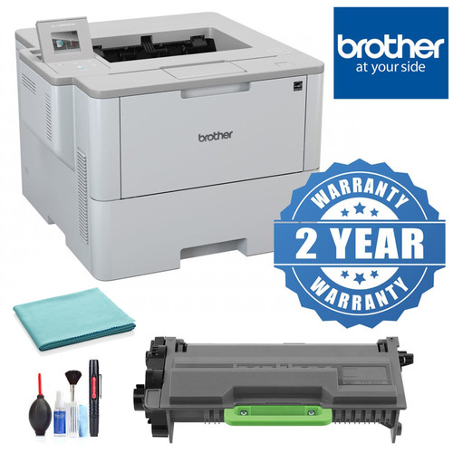 Brother Laser Printer with Wireless Networking, Duplex Printing and Large Paper Capacity with 2 Year Extended Warranty, Toner Cartridge, Cleaning Kit