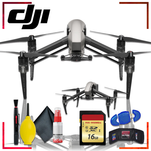 DJI inspire 2 Quadcopter with Cinema DNG and Apple ProRes Licenses + 16gb Memory Card Bundle + Cleaning Kit