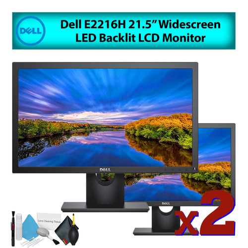 """Dell E2216H 22"""" 16:9 Widescreen LED Backlit LCD Computer Monitor (2-Pack) Best Value Bundle with LCD Screen Cleaning Kit for Home Office"""