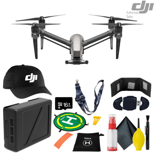 DJI Inspire 2 Quadcopter - DJI TB50 Intelligent Flight Battery - Landing Pad For Drones 50cm - 16GB Micro SD And More