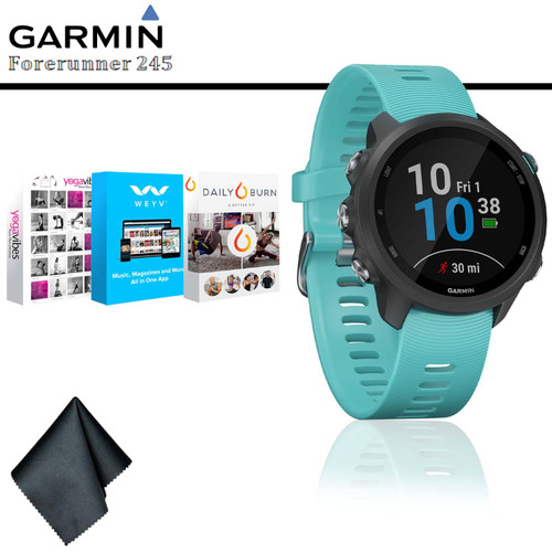Garmin Forerunner 245 Music GPS Running Smartwatch (Aqua) + Fitness and Wellness App Subscrption + Cleaning Cloth