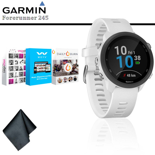 Garmin Forerunner 245 Music GPS Running Smartwatch (White) + Fitness and Wellness App Subscrption + Cleaning Cloth