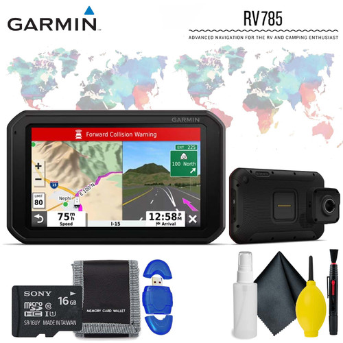 "Garmin RV 785 & Traffic, Advanced GPS Navigator for RVs with Built-in Dash Cam, 7"" Touch Display and Voice-Activated Navigation Standard Accessory Kit"