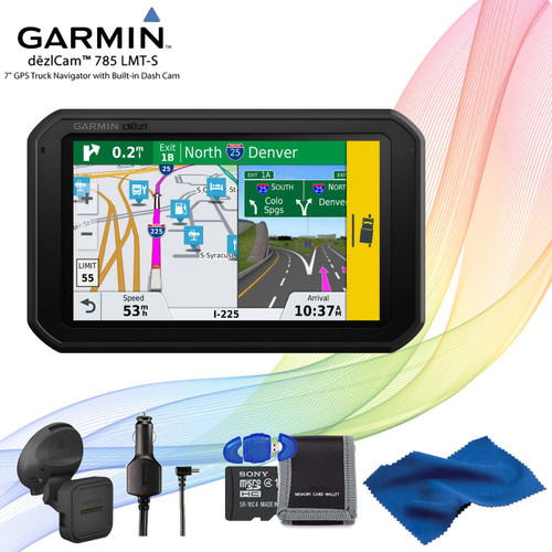Garmin dezlCam 785 LMT-S Advanced GPS for Trucks + Memory Card Kit + Cleaning Cloth