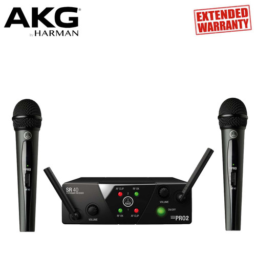 AKG WMS40 Mini Dual Vocal Set Wireless Microphone System - Includes - Universal Power Supply AND 1-Year Extended Warranty