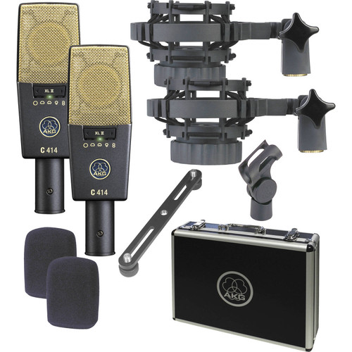 AKG C414 XLII ST Multi-Pattern Large-Diaphragm Condenser Microphone (Matched Pair Stereo Set) - Includes - XLR Cables, Pop Filters, Shockmounts, Windscreens, Cable Ties and 1-Year Extended Warranty