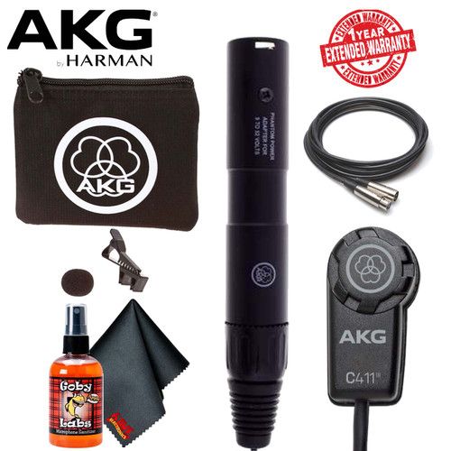 AKG C411 PP Miniature Condenser Pickup Microphone With Carrying Bag, 6ave Cleaning Kit, XLR Cable and 1-Year Extended Warranty