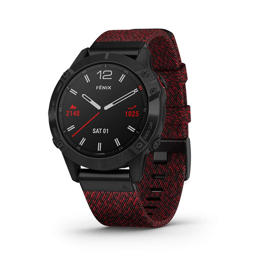 Garmin Fenix 6 Sapphire, Premium Multisport GPS Watch, Features Mapping, Music, Grade-Adjusted Pace Guidance and Pulse Ox Sensors, Black with Red Nylon Band
