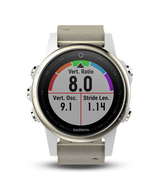 Garmin Fenix 5S Sapphire - Champagne with Gray Suede and White Band