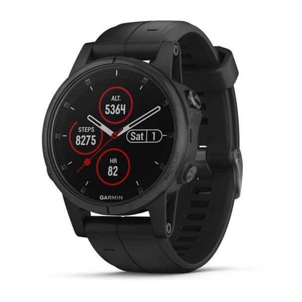 Garmin f?nix 5 Plus, Premium Multisport GPS Smartwatch, Features Color TOPO Maps, Heart Rate Monitoring, Music and Garmin Pay, Black with Black Band