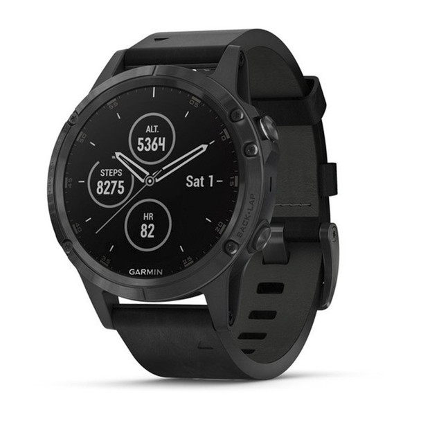 Garmin f?nix 5 Plus, Premium Multisport GPS Smartwatch, Features Color TOPO Maps, Heart Rate Monitoring, Music and Garmin Pay, Black with Leather Band