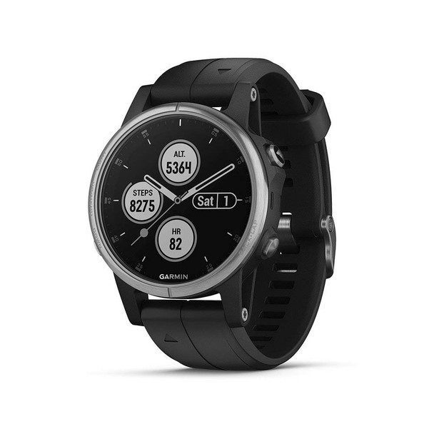 Garmin f?nix 5 Plus, Premium Multisport GPS Smartwatch, Features Color TOPO Maps, Heart Rate Monitoring, Music and Garmin Pay, Black/Silver