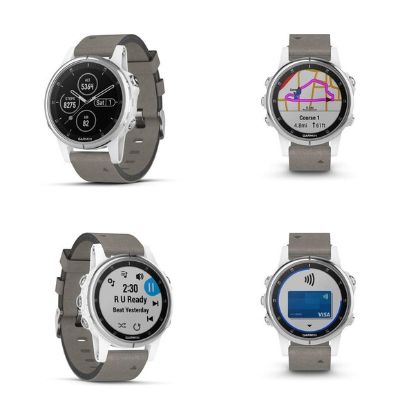 Garmin f?nix 5S Plus - Compact Multisport Watch with Music, maps, and Pay - Sapphire, White with Gray Suede Band