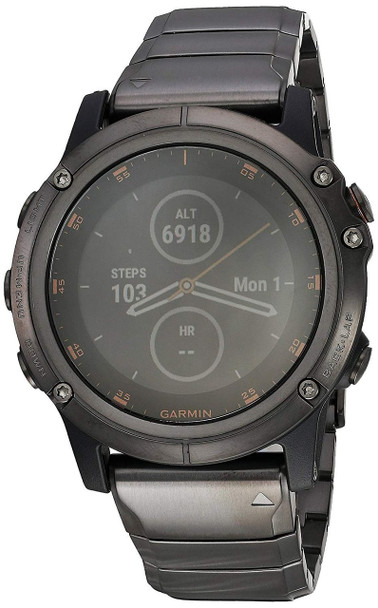Garmin f?nix 5X Plus - Ultimate Multisport Watch with Music, maps, and Pay - Sapphire, Carbon Gray DLC Titanium with DLC Titanium Band