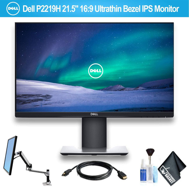 """Dell P2219H 21.5"""" 16:9 Ultrathin Bezel IPS Monitor with HDMI Cable and Ergotron 45-241-026 LX Desk Mount LCD Arm"""