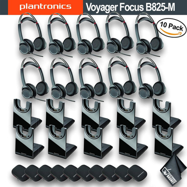 Plantronics Voyager B825-M Focus UC Bluetooth Headset with USB Type-A Adapter for Microsoft (202652-02) 10 Pack Bundle