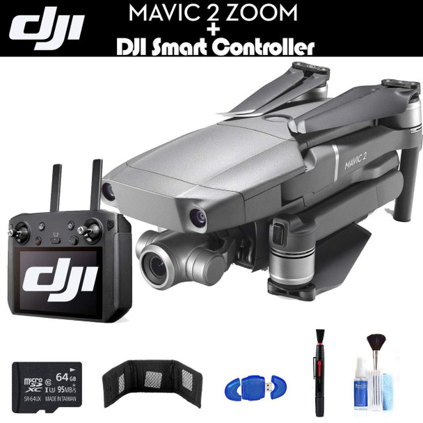 DJI Mavic 2 Zoom with Smart Controller (CP.MA.00000033.01) with 64GB Memory Card, Memory Card Wallet, Cleaning Kit and More - Starter Bundle