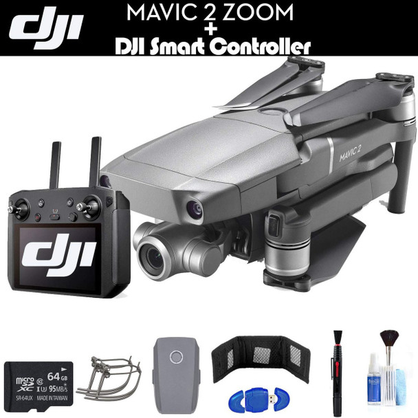 DJI Mavic 2 Zoom with Smart Controller (CP.MA.00000033.01) with 64GB Memory Card, Extra Battery, Propeller Guard, Cleaning Kit, and More - Essential Bundle