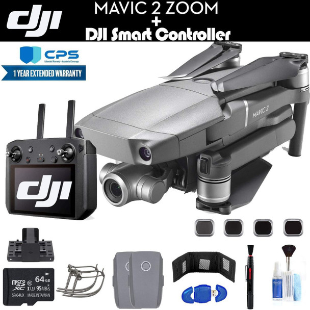 DJI Mavic 2 Zoom with Smart Controller (CP.MA.00000033.01) with 64GB Memory Card, 2 Extra Batteries, Charging Hub, Propeller Guard, Extended Warranty and More - 2 Battery Essential Bundle