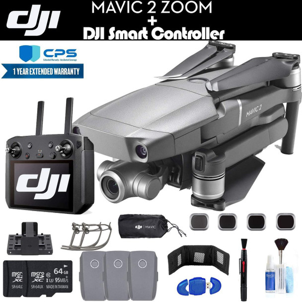 DJI Mavic 2 Zoom with Smart Controller (CP.MA.00000033.01) with 2 64GB Memory Cards, 3 Extra Batteries, Charging Hub, Propeller Guard,Extended Warranty and More - 3 Battery Essential Bundle
