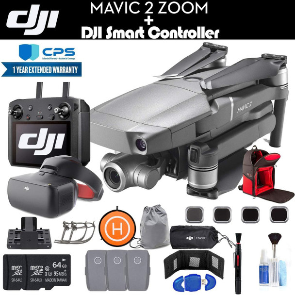 DJI Mavic 2 Zoom with Smart Controller (CP.MA.00000033.01) with DJI Racing Goggles, 2 64GB Cards, 3 Extra Batteries, Charging Hub, Backpack, Extended Warranty and More - 4 Battery Goggle Bundle