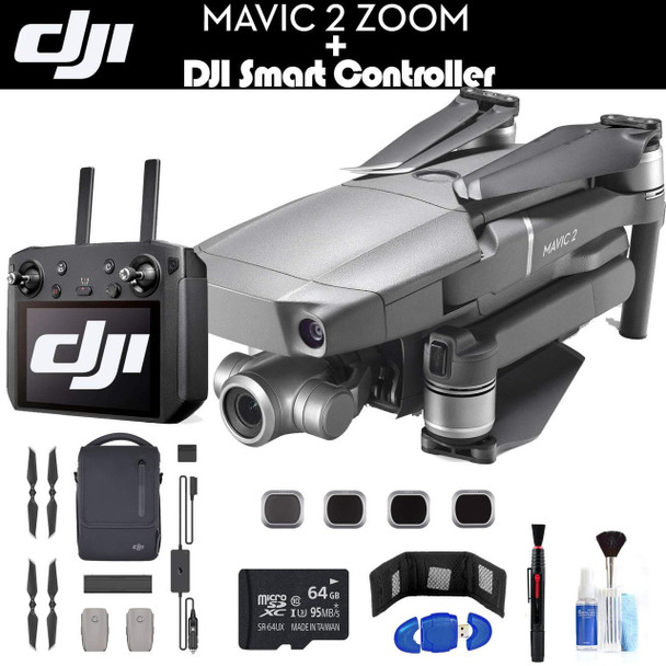 DJI Mavic 2 Zoom with Smart Controller CP.MA.00000033.01 Fly More Combo, 3 Batteries, Extra Propellers, Car Charger, Carrying Bag, Charging Hub, 64GB Card, Extended Warranty and More - Fly More Combo