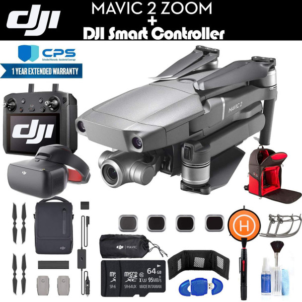 DJI Mavic 2 Zoom with Smart Controller (CP.MA.00000033.01) Fly More Combo, Goggles, 3 Batteries, Car Charger, 2 64GB Cards, Backpack, Extended Warranty and More - Fly More Combo and Goggles