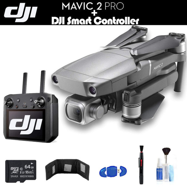 DJI Mavic 2 Pro with Smart Controller (CP.MA.00000021.01) with 64GB Memory Card, Memory Card Wallet, Cleaning Kit and More - Starter Bundle