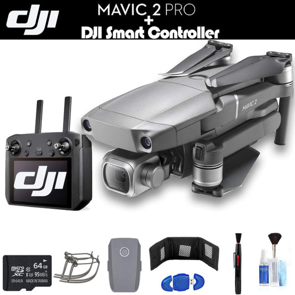 DJI Mavic 2 Pro with Smart Controller (CP.MA.00000021.01) with 64GB Memory Card, Extra Battery, Propeller Guard, Cleaning Kit, and More - Essential Bundle