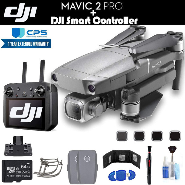 DJI Mavic 2 Pro with Smart Controller (CP.MA.00000021.01) with 64GB Memory Card, 2 Extra Batteries, Charging Hub, Propeller Guard, Extended Warranty and More - 2 Battery Essential Bundle