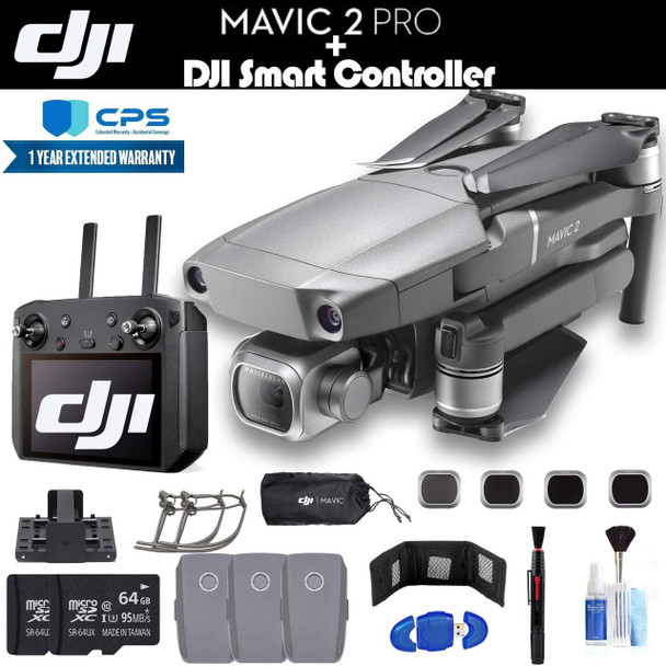 DJI Mavic 2 Pro with Smart Controller (CP.MA.00000021.01) with 2 64GB Memory Cards, 3 Extra Batteries, Charging Hub, Propeller Guard, Extended Warranty and More - 3 Battery Essential Bundle