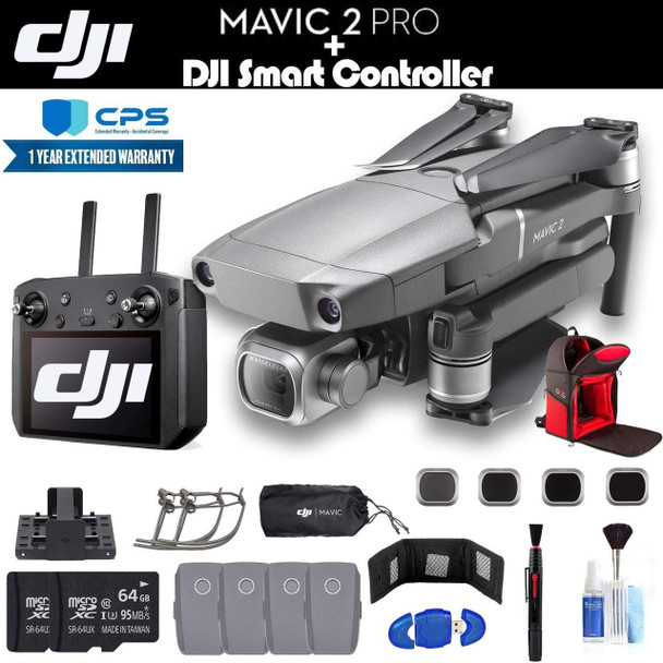 DJI Mavic 2 Pro with Smart Controller (CP.MA.00000021.01) with 2 64GB Cards, 4 Extra Batteries, Charging Hub, Propeller Guard, Backpack, Extended Warranty and More - 4 Battery Essential Bundle