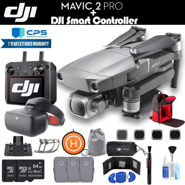 DJI Mavic 2 Pro with Smart Controller (CP.MA.00000021.01) with DJI Goggles, 2 64GB Cards, 3 Extra Batteries, Charging Hub, Backpack, Extended Warranty and More - 4 Battery Goggle Bundle