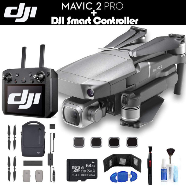 DJI Mavic 2 Pro with Smart Controller (CP.MA.00000021.01) Fly More Combo, 3 Total Batteries, Car Charger, Carrying Bag, Charging Hub, 64GB Card, Extended Warranty and More - Fly More Combo