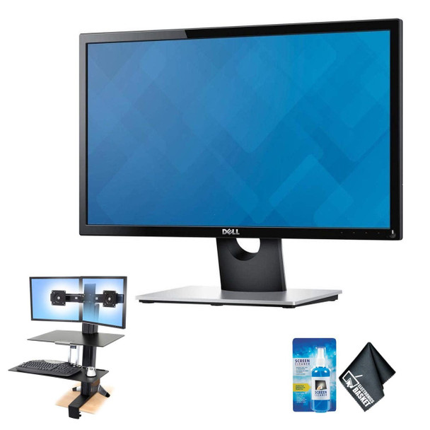 "Dual Monitor Combo: 2X Dell 22"" LCD Monitor(1920 x 1080 Resolution) WorkFit-S Dual Sit-Stand Worksurface & Large Keyboard Tray"