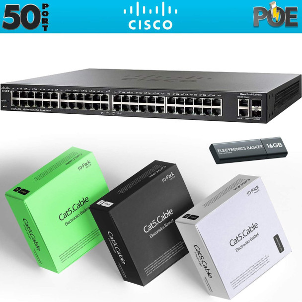 Cisco SG250-50HP 50-Port Gigabit PoE Smart Switch Kit