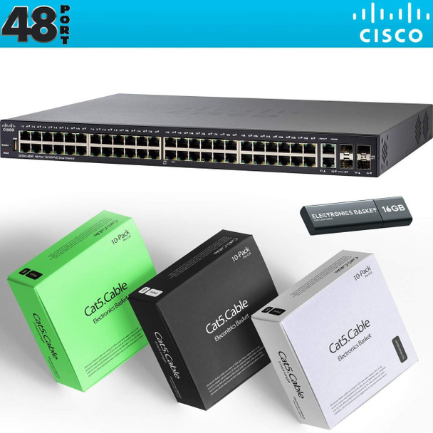 Cisco SG250X-48 48-Port Gigabit with 4-Port 10-Gigabit Smart Switch Kit