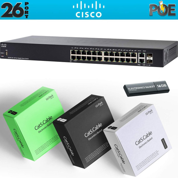 Cisco SG250-26HP 26-Port Gigabit PoE Smart Switch Kit