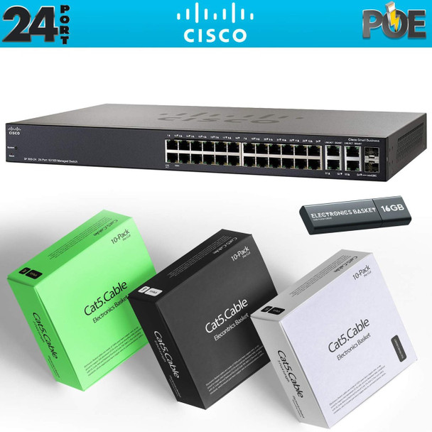 Cisco SF350-24MP 24-Port 10/100 Max PoE Managed Switch + Cabling Kit - SF350-24MP-K9-NA