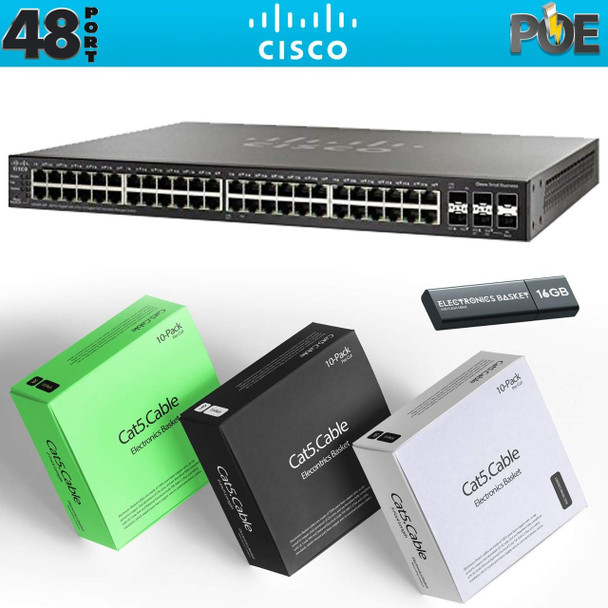 Cisco SG350X-48MP 48-Port Gigabit PoE Stackable Managed Switch + Cabling Kit - SG350X-48MP-K9-NA