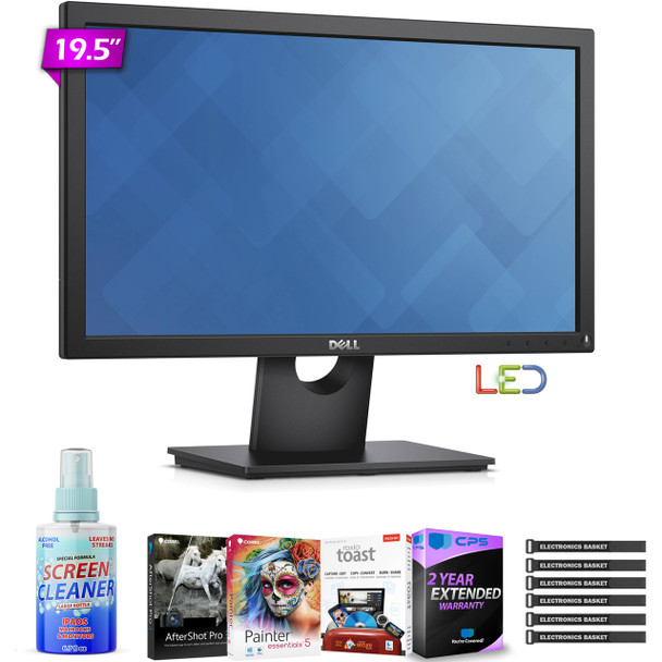 """Dell E2016H 19.5"""" Widescreen LED Backlit LCD Monitor with Photo Essentials Software and Special 2 Year Extended Warranty"""